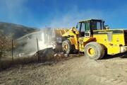 تخریب مستحدثات غیر مجاز در مزارع کشاورزی آمل