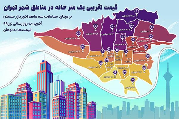 قیمت تقریبی یک متر خانه در مناطق شهر تهران در تیر ماه ۹۹