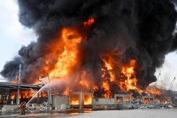 آتش سوزی مجدد در بندر بیروت