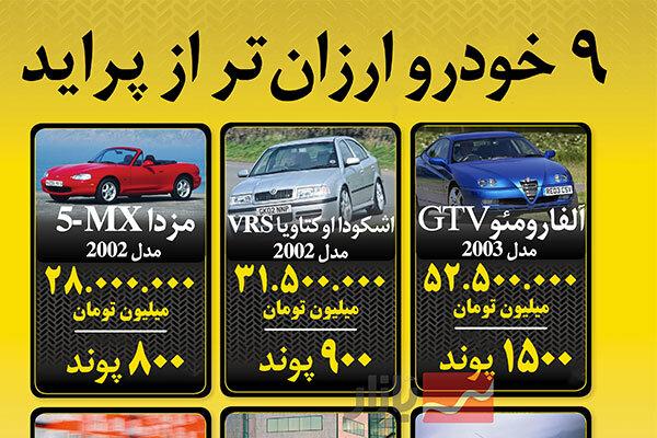 ۹ خودرو ارزانتر از پراید